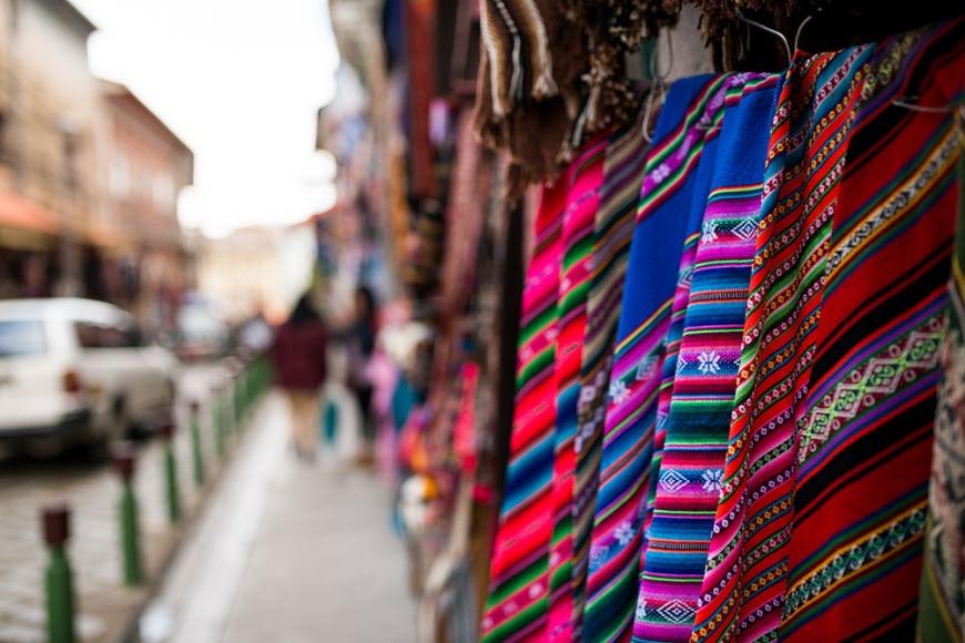 Textile shops, La Paz, Bolivia