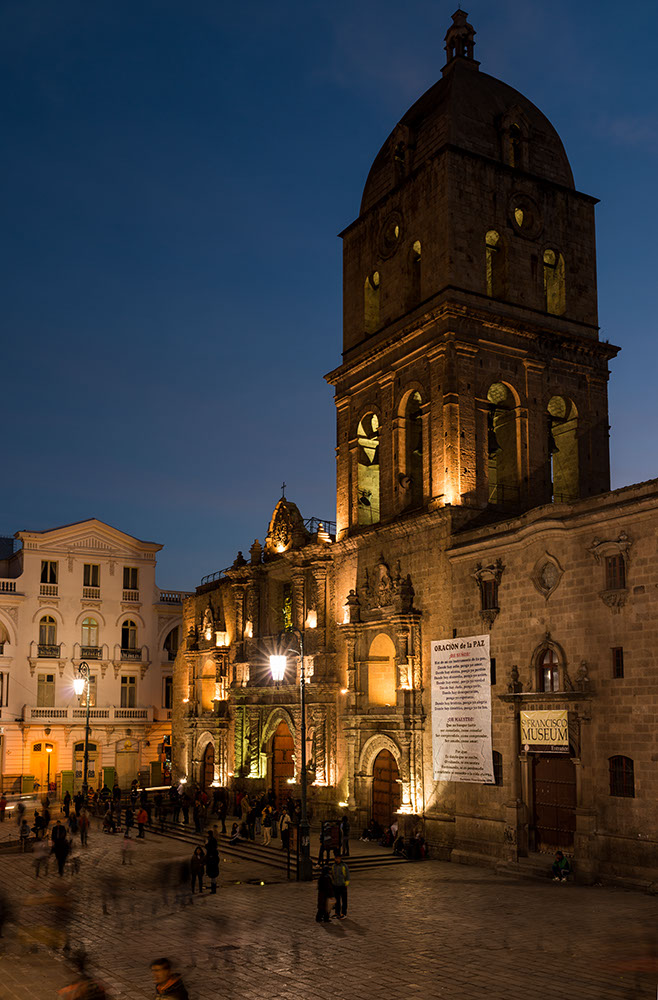 Iglesia de San Francisco at night, La Paz, Bolivia