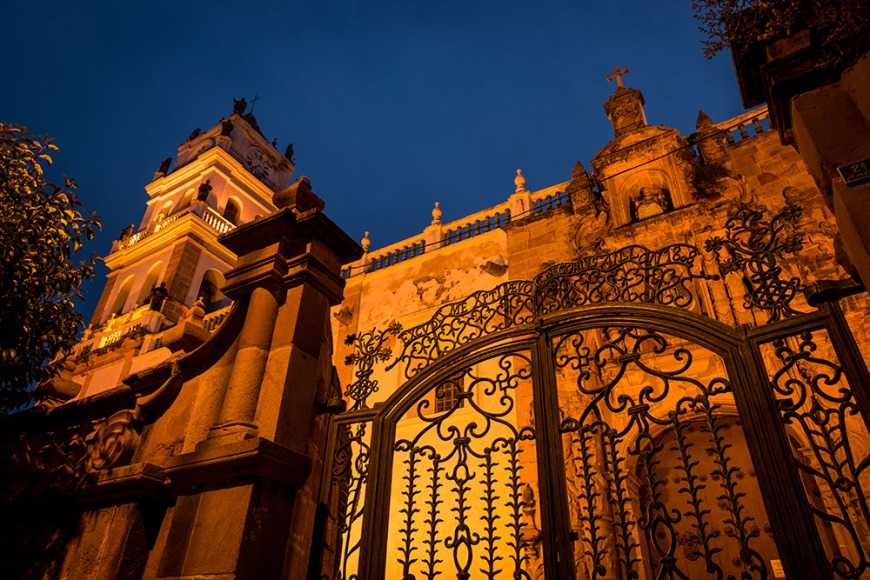 The Cathedral gates at night, Sucre, Bolivia