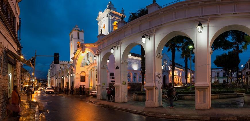 Iglesia de San Francisco at night, Sucre, Bolivia