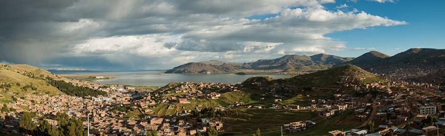 High view over City of Puno, Lake Titicaca, Peru