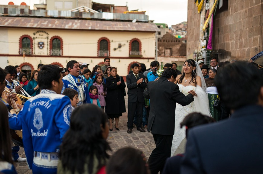 Peruvian wedding with Mariachi Band, Plaza de Armas, Puno, Lake Titicaca, Peru