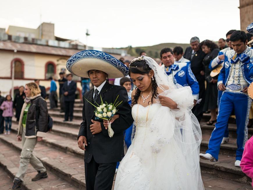 Peruvian wedding with Mariachi Band, Plaza de Armas, Puno, Lake Titicaca, Peru