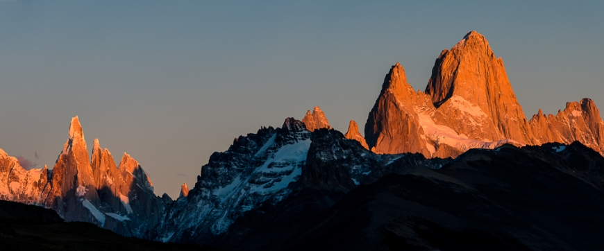 Sunrise over the Fitz Roy Mountain Range, El Chaltén, Los Glaciares National Park, Santa Cruz Province, Argentina