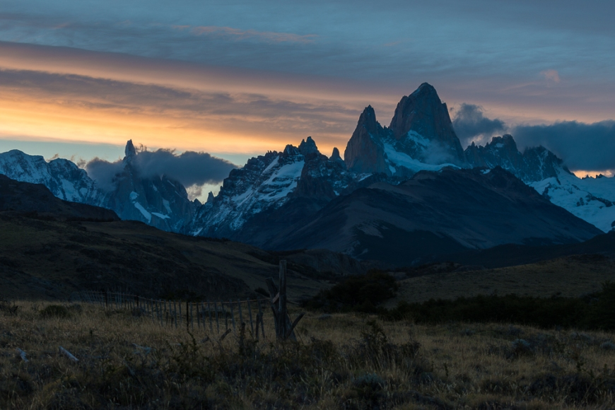 Sunset behind the Fitz Roy Mountain Range, El Chaltén, Los Glaciares National Park, Santa Cruz Province, Argentina
