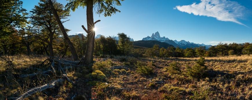 Evening light on the Fitz Roy Mountain Range, El Chaltén, Los Glaciares National Park, Santa Cruz Province, Argentina