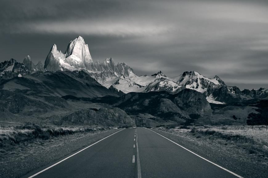 Early morning light on the Fitz Roy Mountain Range, El Chaltén, Los Glaciares National Park, Santa Cruz Province, Argentina