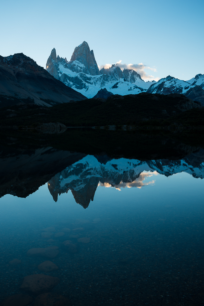 Last light on the Fitz Roy Mountain Range, Laguna Capri, Los Glaciares National Park, Santa Cruz Province, Argentina