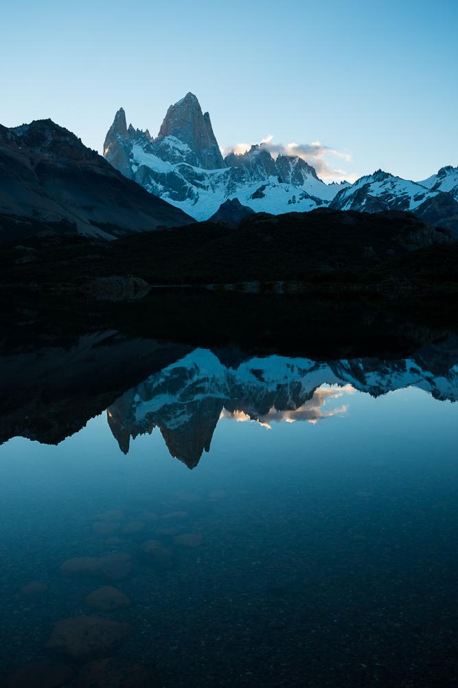 Last light on the Fitz Roy Mountain Range, Laguna Capri, Los Glaciares National Park, Santa Cruz Province, Argentina