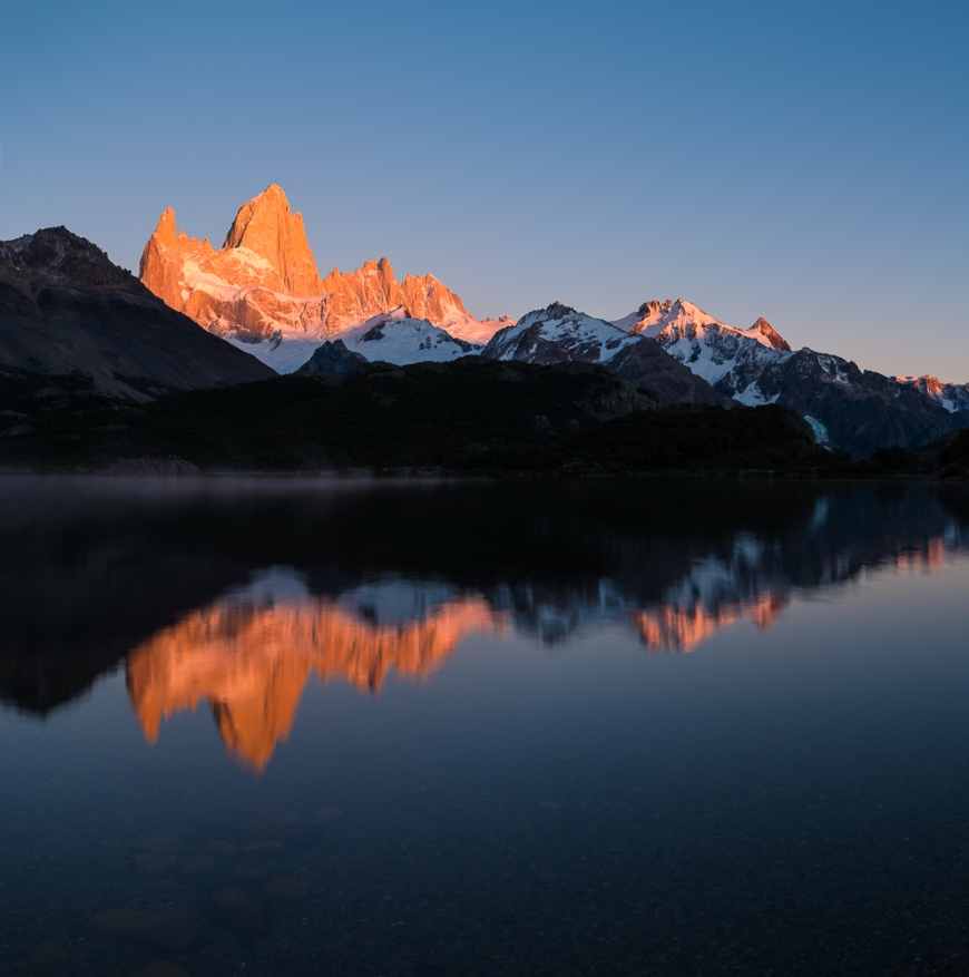 Sunrise over the Fitz Roy Mountain Range, Laguna Capri, Los Glaciares National Park, Santa Cruz Province, Argentina