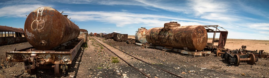 Train Cemetery, Salar de Uyuni, Southern Altiplano, Bolivia