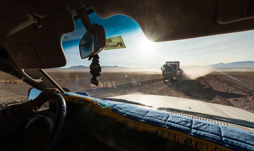 Interior of car with driver during tour of the Reserva Eduardo Avaroa, Bolivia