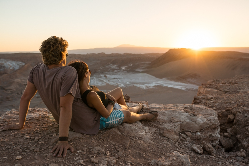 Couple watching the sunset, Valle de la Luna (Valley of the Moon), Atacama Desert, El Norte Grande, Chile