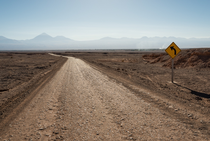 Road towards Valle de la Luna (Valley of the Moon), Atacama Desert, El Norte Grande, Chile