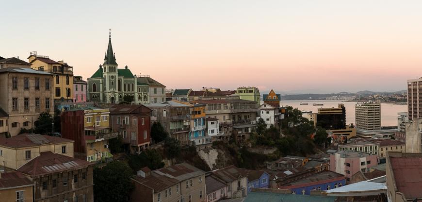View from Ascensor Reina Victoria at dusk, Cerro Concepción, Valparaíso, Central Coast, Chile
