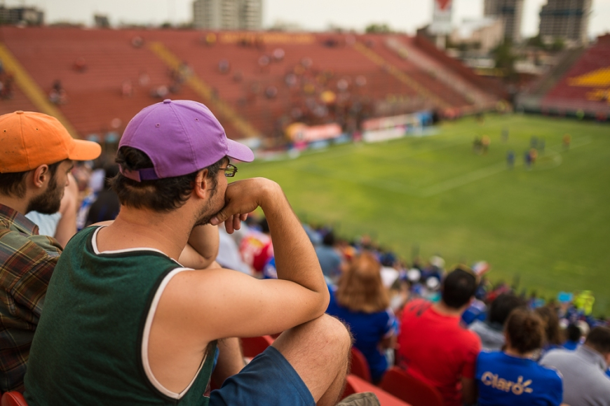Fans watching a match between Universidad de Chile and Unión Española on 01-03-2014 (result 3-3), Estadio Santa Laura-Universidad SEK, Santiago, Chile