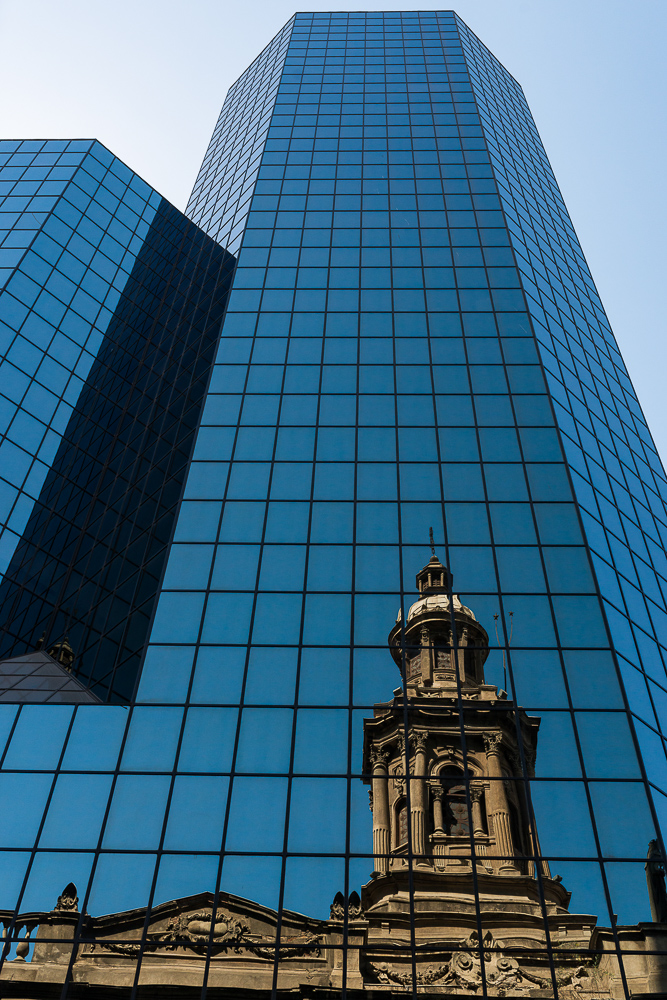 Reflection of the Cathedral in Skyscraper, Santiago, Chile