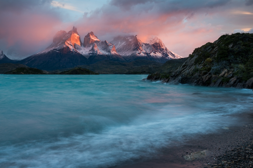 Dawn over Lago Pehoé, Torres del Paine National Park, Patagonia, Chile