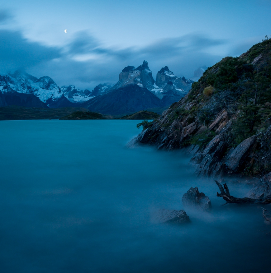 Twilight over Lake Pehoé, Torres de Paine National Park, Patagonia, Chile