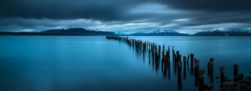 Dusk over The Last Hope Sound, Puerto Natales, Patagonia, Chile