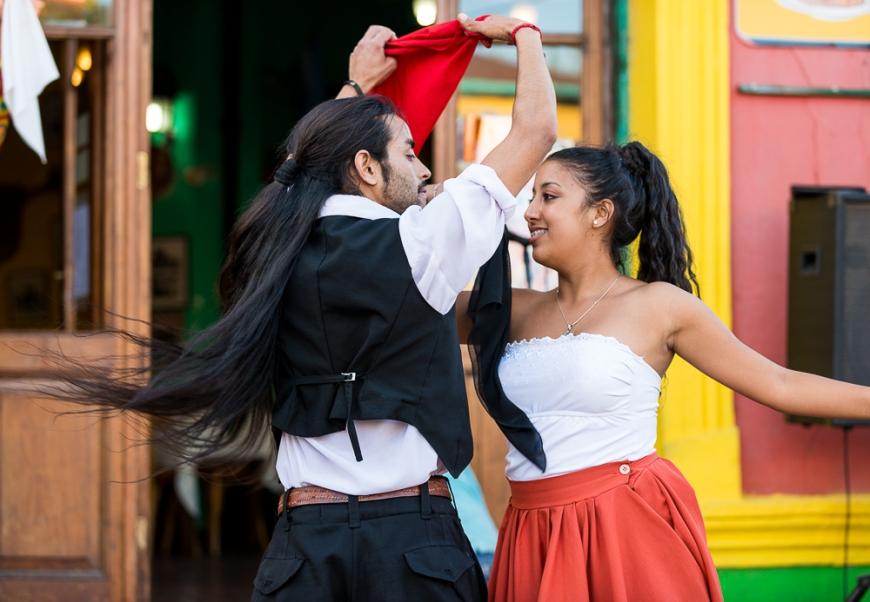 Melani & Jugo Tango dancing, El Caminito, La Boca, Buenos Aires, Argentina