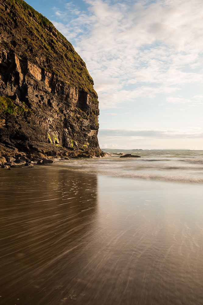 Druidston Haven Beach at dusk, Pembrokeshire Coast National Park, Wales, UK