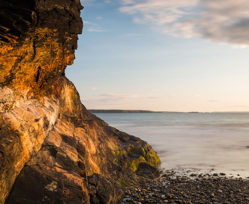 Druidston Haven Beach at dusk, Pembrokeshire Coast National Park, Wales, UK