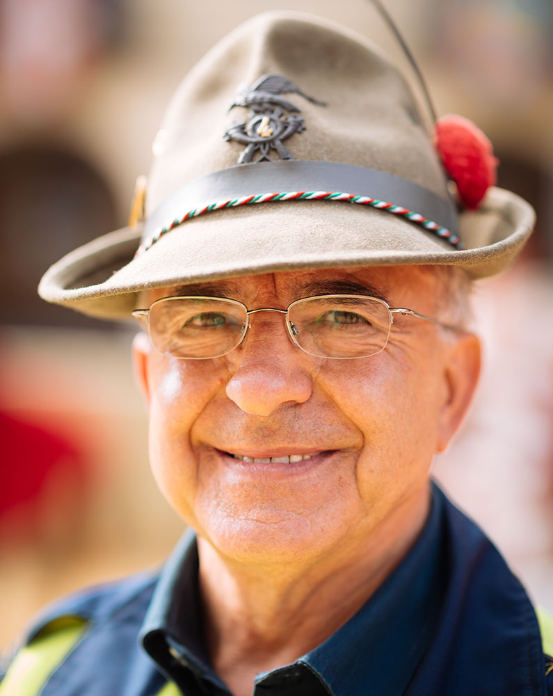 Portrait of race steward ahead of the Palio di Asti