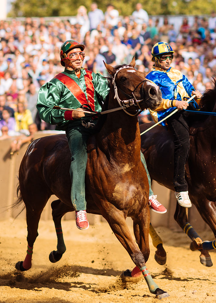 Jockey's jostle for position for the start of the Palio Di Asti on September 21, 2014 in Asti, Italy