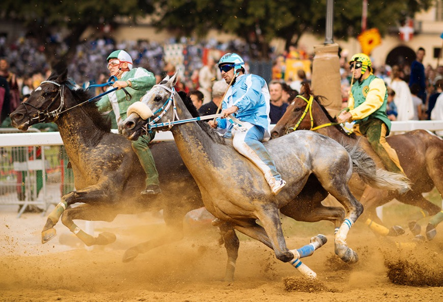 Competitors take part in the Palio Di Asti on September 21, 2014 in Asti, Italy