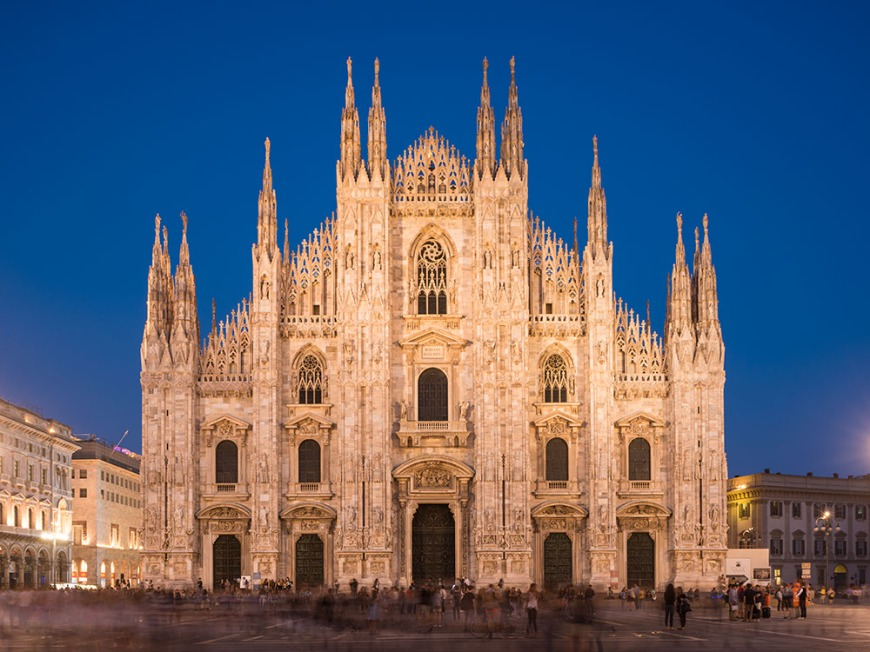 Exterior of Milan Cathedral at night, Piazza Duomo, Milan, Lombardy, Italy