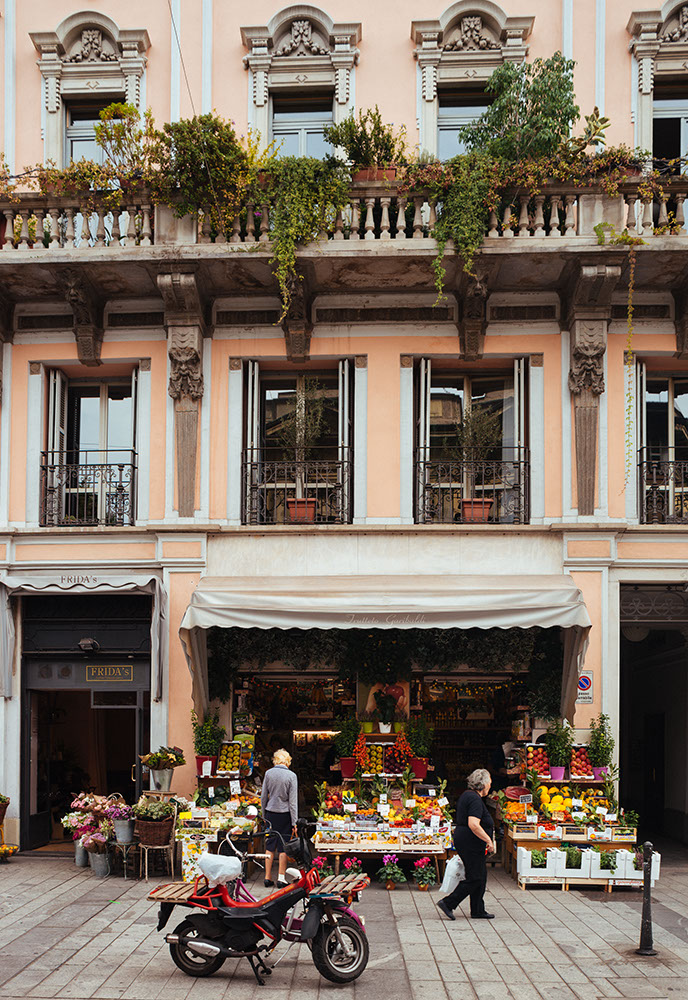 Facade of Grocery store, Milan, Lombardy, Italy