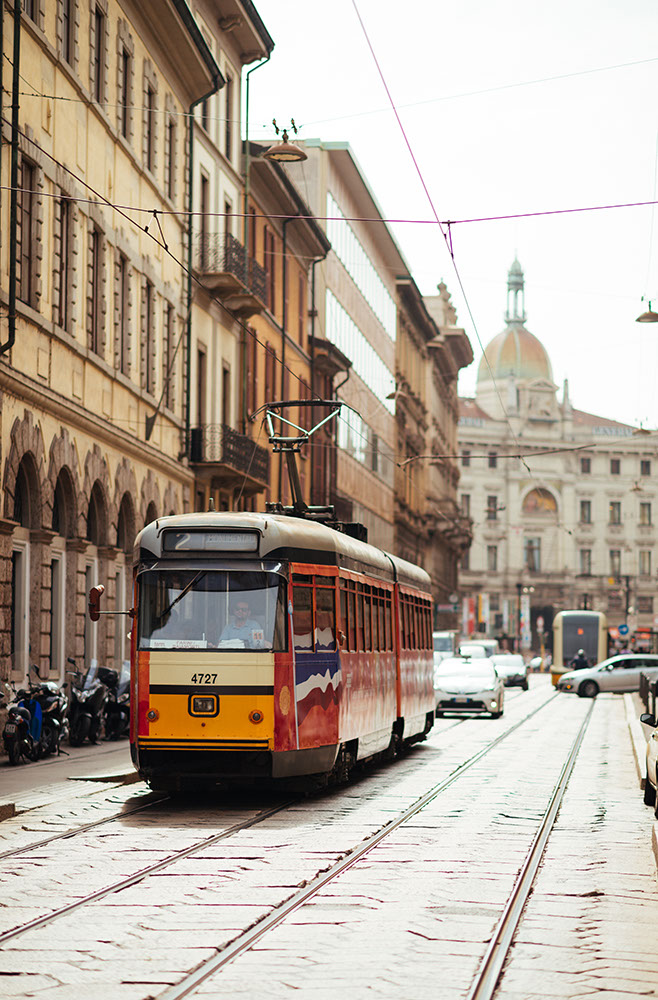 Tram on street of Milan, Lombardy, Italy