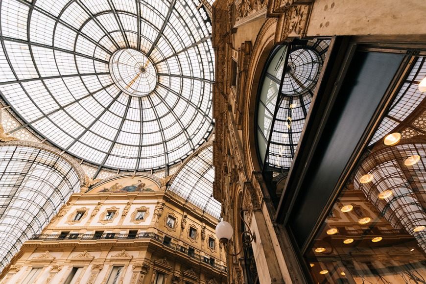 Interior of Galleria Vittorio Emanuele Shopping Mall, Milan, Lombardy, Italy
