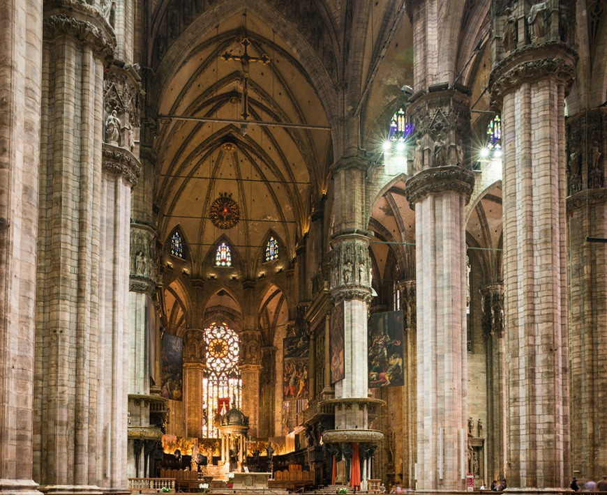 Interior of Milan Cathedral, Piazza Duomo, Milan, Lombardy, Italy