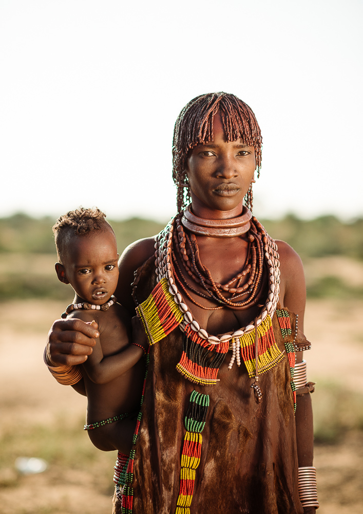 Portrait of Faragne with her daughter, Hamar Tribe, Omo Valley, Ethiopia