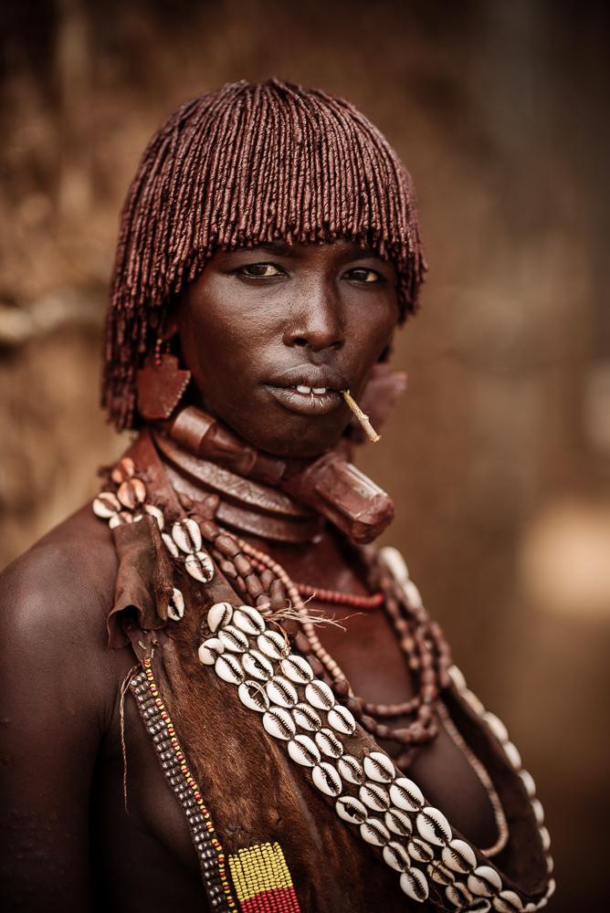Portrait of Wato from Hamar Tribe, Turmi Market, Omo Valley, Ethiopia