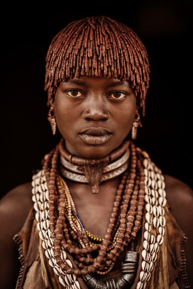 Portrait of Guyna from Hamar Tribe, Turmi Market, Omo Valley, Ethiopia