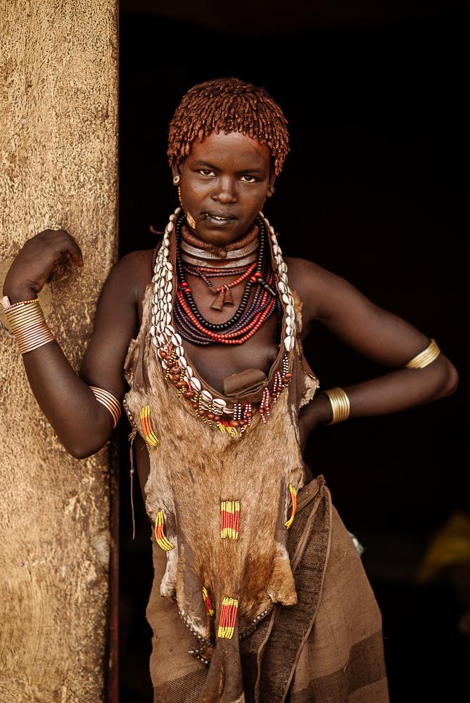 Portrait of Hisoo from Hamar Tribe, Turmi Market, Omo Valley, Ethiopia