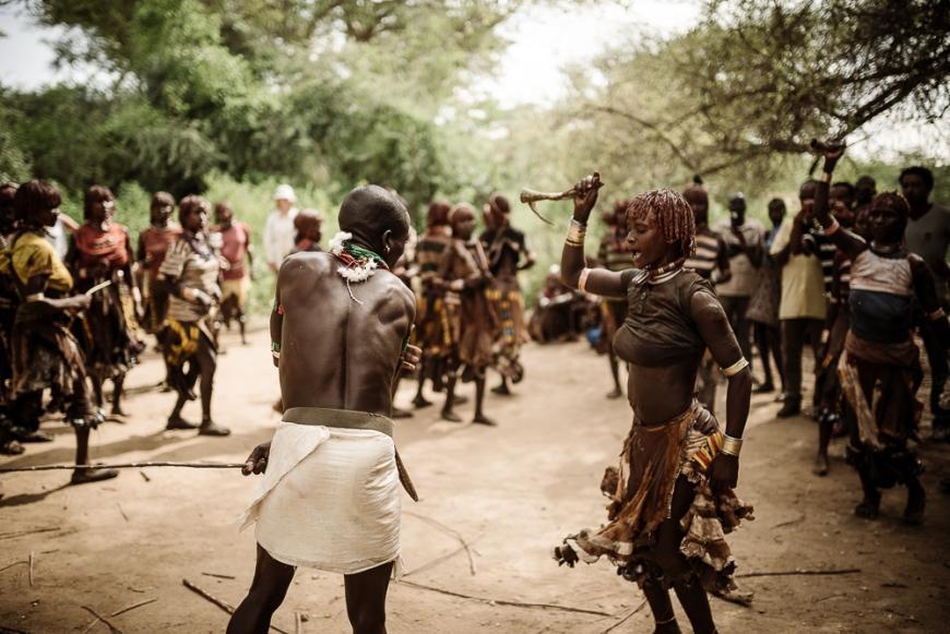 Jumping of the Bulls Ceremony, Hamar Tribe, Turmi, Omo Valley, Ethiopia