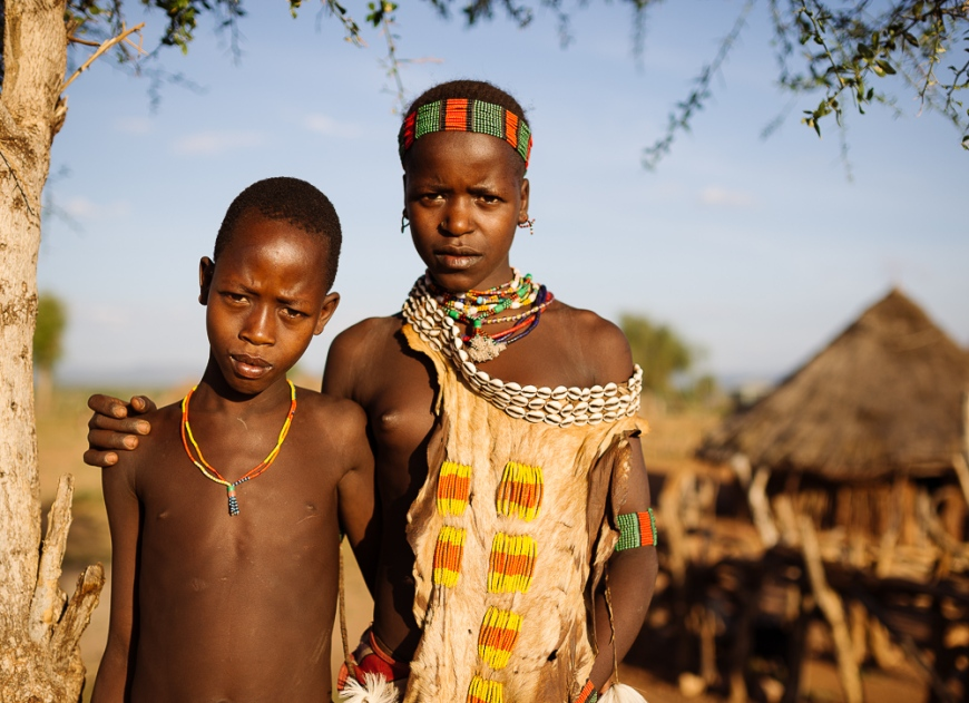 Portrait of Share and Canekiy from Hamar Tribe, Omo Valley, Ethiopia