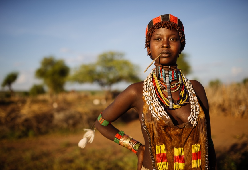 Portrait of Layta, Hamar Tribe, Omo Valley, Ethiopia
