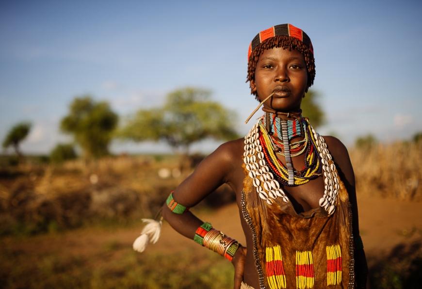 Portrait of Layta, Hamar Tribe, Omo Valley, Ethiopia