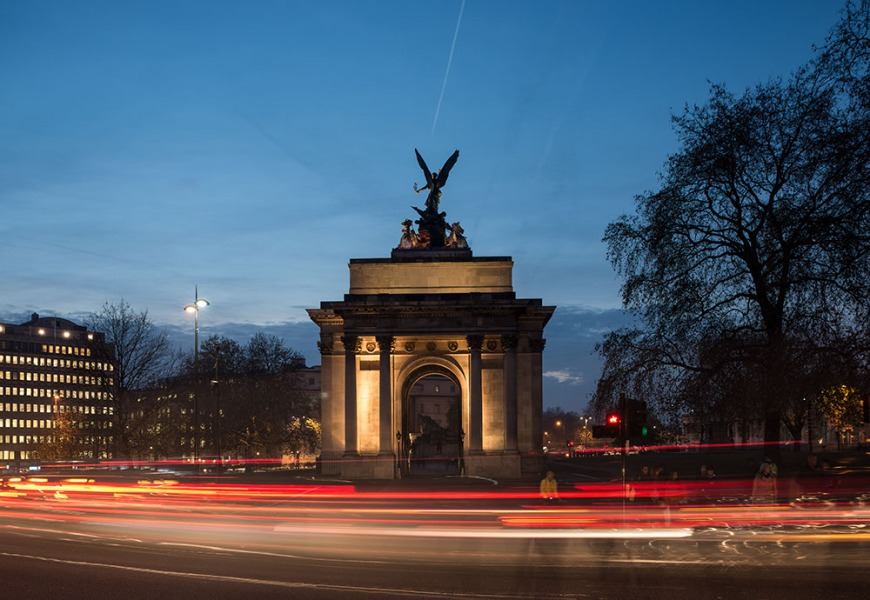 The Wellington Arch at night, Hyde Park, London, England