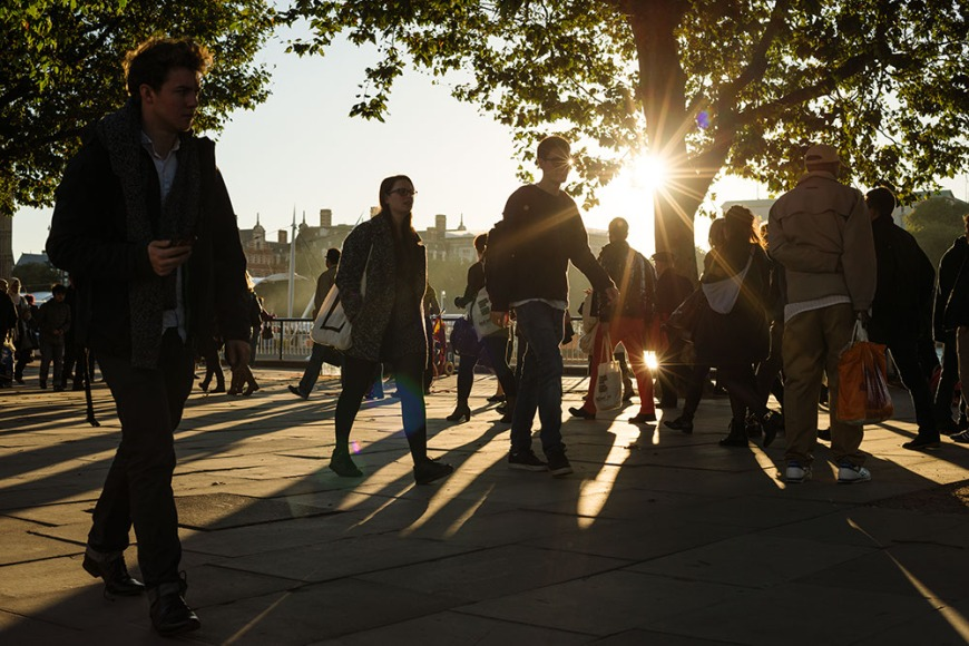 South Bank in autumn light, London, England