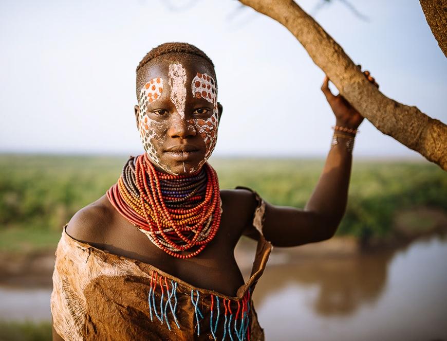 Portrait of Barge, Kara Tribe, Korcho Village, Omo Valley, Ethiopia