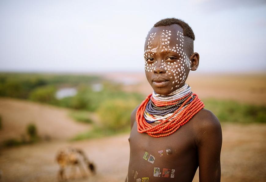 Portrait of Tina, Kara Tribe, Korcho Village, Omo Valley, Ethiopia