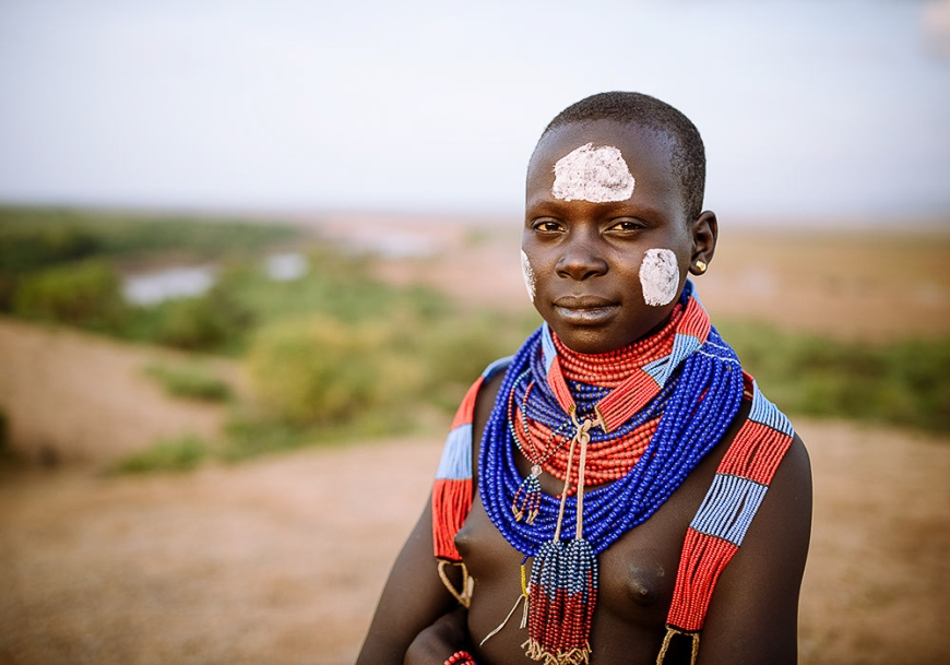 Portrait of Warsha, Kara Tribe, Korcho Village, Omo Valley, Ethiopia
