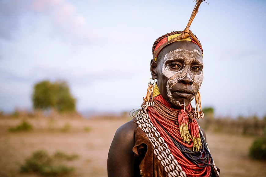 Portrait of Kanke, Kara Tribe, Korcho Village, Omo Valley, Ethiopia