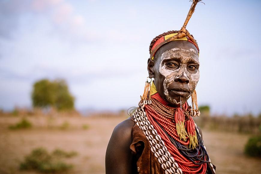 Portrait of Kanke, Kara Tribe, Korcho Village, Omo Valley, Ethiopia